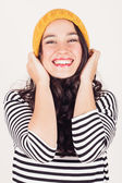 Happy autumn or winter girl with wool cap — Foto Stock