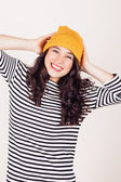 Happy autumn or winter girl with wool cap — Foto de Stock