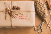 Handcrafted and ecological Christmas package — Stock Photo