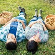 Couple resting on the grass in autumn after picking apples — Stock Photo #56843921