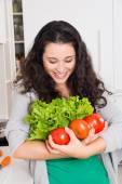 She loves vegetables — Stock Photo