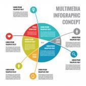 Multimedia Infographic Concept - Abstract Vector Business Scheme — Vector de stock