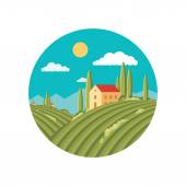 Agriculture landscape with vineyard. Vector abstract illustration in flat style design. Vector logo template. — Stock Vector