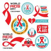AIDS - vector badges collection. World AIDS day - 1 December. — Stock Vector