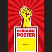 Hand Up Proletarian Revolution - Vector Illustration Concept in Soviet Union Agitation Style. Fist of revolution. Vertical poster template. — Stock Vector