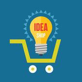 Creative idea in light bulb shape in basket. Idea shop - vector illustration in flat design style. Vector design element. — Stock Vector