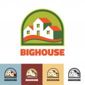 Big house - vector logo concept illustration. Real estate logo. Vector logo template. Different colors variations. Greenhouse logo concept. — Stockvector