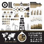 Oil industry - vector infographic elements for presentation, booklet and other design project. Production, transportation and refining of oil - infographic vector set. Included 32 vector icons. — Stock Vector