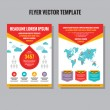 Abstract flyer vector template. Brochure vector template. Design elements. Vector world map included. — Stock Vector #58319127