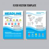Abstract flyer vector template. Brochure vector template. Abstract blue waves composition. Time line infographic concept. Abstract background. Design elements. — Stock Vector