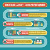 Endüstriyel fabrika - Infographic iş kavramı sunusu, kitapçık, web sitesi ve diğer projeler için düz tasarım tarzında. Infographic vektör şablonu. Numaralı adımlar seçenekleri. — Stok Vektör
