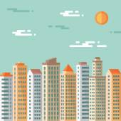Cityscape - abstract buildings - vector concept illustration in flat design style. Real estate flat illustration.Archit ecture megalopolis. Cityscape light background. Set buildings. Design elements. — Stock Vector