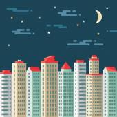 Night cityscape - abstract buildings - vector concept illustration in flat design style. Real estate flat illustration.Archit ecture megalopolis. Cityscape dark background. Design elements. — Stock vektor