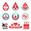 Blood donation - vector logo badges collection. World blood donor day - 14 June. Heart and blood drop illustration. Blood donate vector set. Design elements. — Stock Vector #59752155