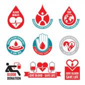 Blood donation - vector logo badges collection. World blood donor day - 14 June. Heart and blood drop illustration. Blood donate vector set. Design elements. — Stock Vector