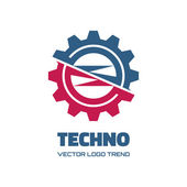 Techno - vector logo concept illustration. Gear logo. Factory logo. Technology logo. Mechanical logo. Vector logo template. Design element. — Stockvector