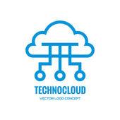 Technocloud - vector logo concept illustration. Cloud logo. Vector logo template. Design element. — Stock Vector