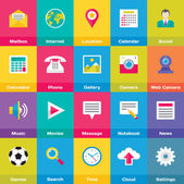 Vector Icons Base Set in Flat Style for Web and Mobile Application. — Stock Vector