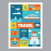 Travel - mosaic poster with icons in flat design style. Vector icons set. Set of tourism icons. Travel illustrations. Design elements. — Stock Vector