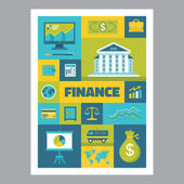 Finance - mosaic poster with icons in flat design style. Vector icons set. Finance flat illustrations. Design elements. — Stock Vector