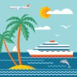 Travel cruise - vector concept illustration in flat style design. Cruise liner, sailboat, sea, waves, palms, dolphin, clouds, airplane. Nautical vector illustration. Set of design elements. — Stock Vector #65767457