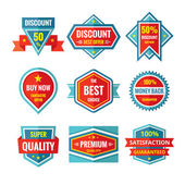 Sale and discount vector badges in flat style design. Sale badges collection. Vector flat badges set. Sale and discount logos. Design elements. — Stock Vector