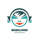 Music lover - vector logo concept illustration. Audio logo. Human character logo. Vector logo template. Design element. — Stock Vector