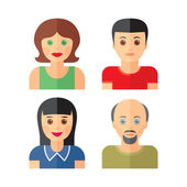 People persons icons in flat style. People icons in flat design. People vector illustration. Human characters signs. Design elements. — Stock Vector