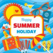 Happy summer holiday - creative vector banner in flat style design for presentation, booklet, website etc. Summer signs set. Summer vector background. Design element. — Stock Vector