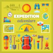 Expedition adventure - vector icons set in flat style design. Summer travel vector signs collection. Tourism flat icons. Camp flat icons. Design elements. — Stock Vector