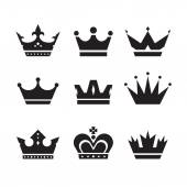 Crown vector icons set. Crowns signs collection. Crowns black silhouettes. Design elements. — Stock Vector