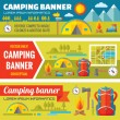Summer camping - mountain expedition adventures - vector decorative banners set in flat style design trend. Summer camping vector backgrounds. Tourism flat icons. Design elements. — Stock Vector #71270827