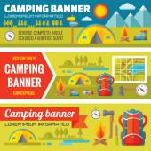 Summer camping - mountain expedition adventures - vector decorative banners set in flat style design trend. Summer camping vector backgrounds. Tourism flat icons. Design elements. — Stock Vector
