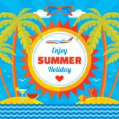Enjoy summer holiday - vector concept banner in flat style. Summer holiday vector background. Design elements. — Stock Vector