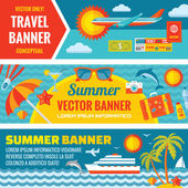 Summer travel - decorative horizontal vector banners set in flat style design trend. Summer travel vector backgrounds. Summer, travel and transport flat icons. Design elements. — Stock Vector