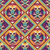 Skull and heart on colored geometric background - seamless vector pattern. Abstract geometric seamless vector background. The Tibetan Book of the Dead concept background. Design element. — 图库矢量图片