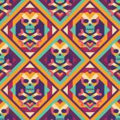 Skull and heart on colored geometric background - seamless vector pattern. Abstract geometric seamless vector background. The Tibetan Book of the Dead concept background. Design element. — Stock Vector