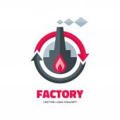 Factory - vector logo concept illustration in flat style for business company. Industrial factory logo sign illustration. Vector logo template. Design element. — Stock Vector