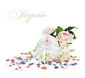 Gift box with roses — Stock Photo