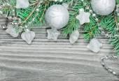 Gümüş noel kompozisyon — Stok fotoğraf