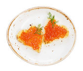 Sandwiches with red caviar — Stock Photo