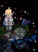 Vánoční složení v modrém — Stock fotografie