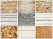 Stone wall texture background set — Stock Photo