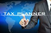 Hand touching TAX PLANNER words — Stock Photo