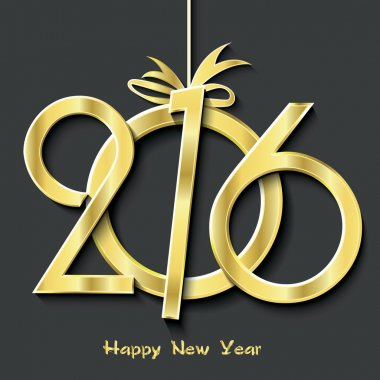 Happy new year 2016 greeting card design.