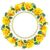 Wreath Background with Yellow Roses. — Stock Vector