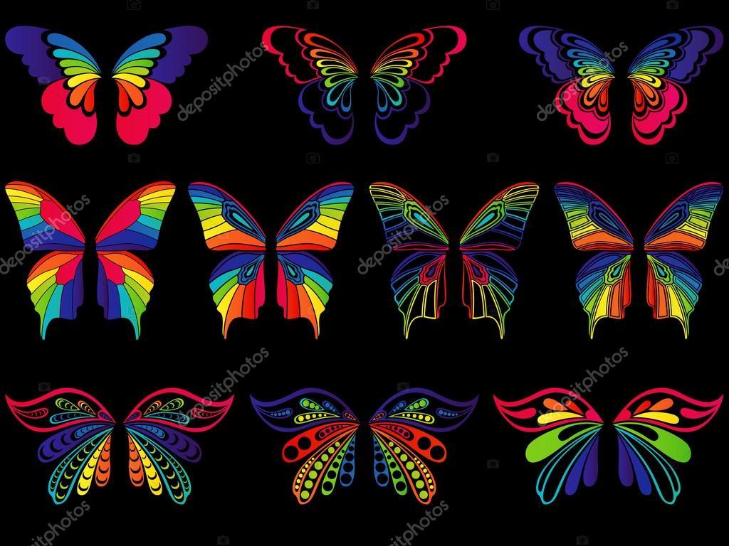 Imagenes De Mariposas De Colores: Mariposas De Colores Sobre Fondo Negro