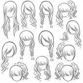 Set of teenage girl hairstyles — Stock Vector