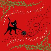 Black cat playing with ball of yarn — Stock Vector
