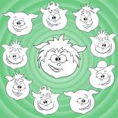 Funny cartoon piglet faces around big pig face — Stock Vector